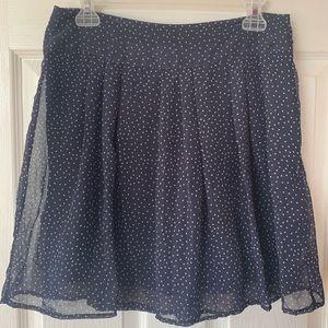 Gap sheer/lined layered navy/white skirt EUC